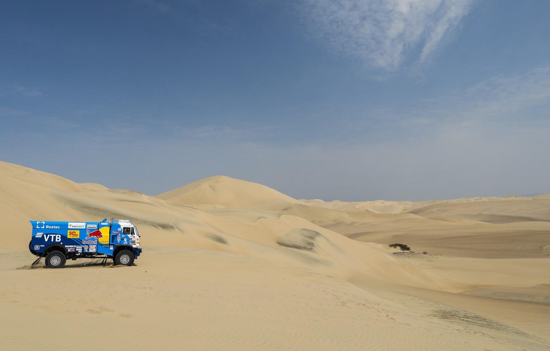Фото обои Песок, Авто, Спорт, Пустыня, Грузовик, Гонка, Мастер, Холмы, Россия, 500, Kamaz, Rally, Dakar, КАМАЗ-мастер, Дакар, …