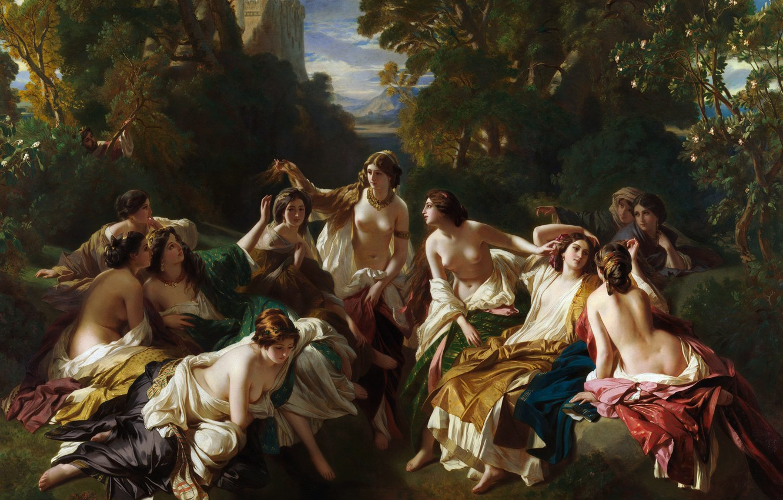 Обои картина, Флоринда, Franz Xaver Winterhalter, Франц Ксавер Винтерхальтер, мифология. Разное foto 6