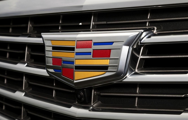 Фото обои Cadillac, логотип, камера, перед, эмблема, Кадиллак, решётка
