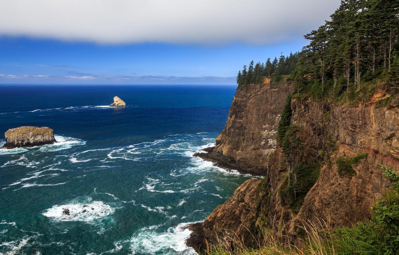 Фото обои море, скала, прибой, Oregon, multi monitors, ultra hd, Cape Meares