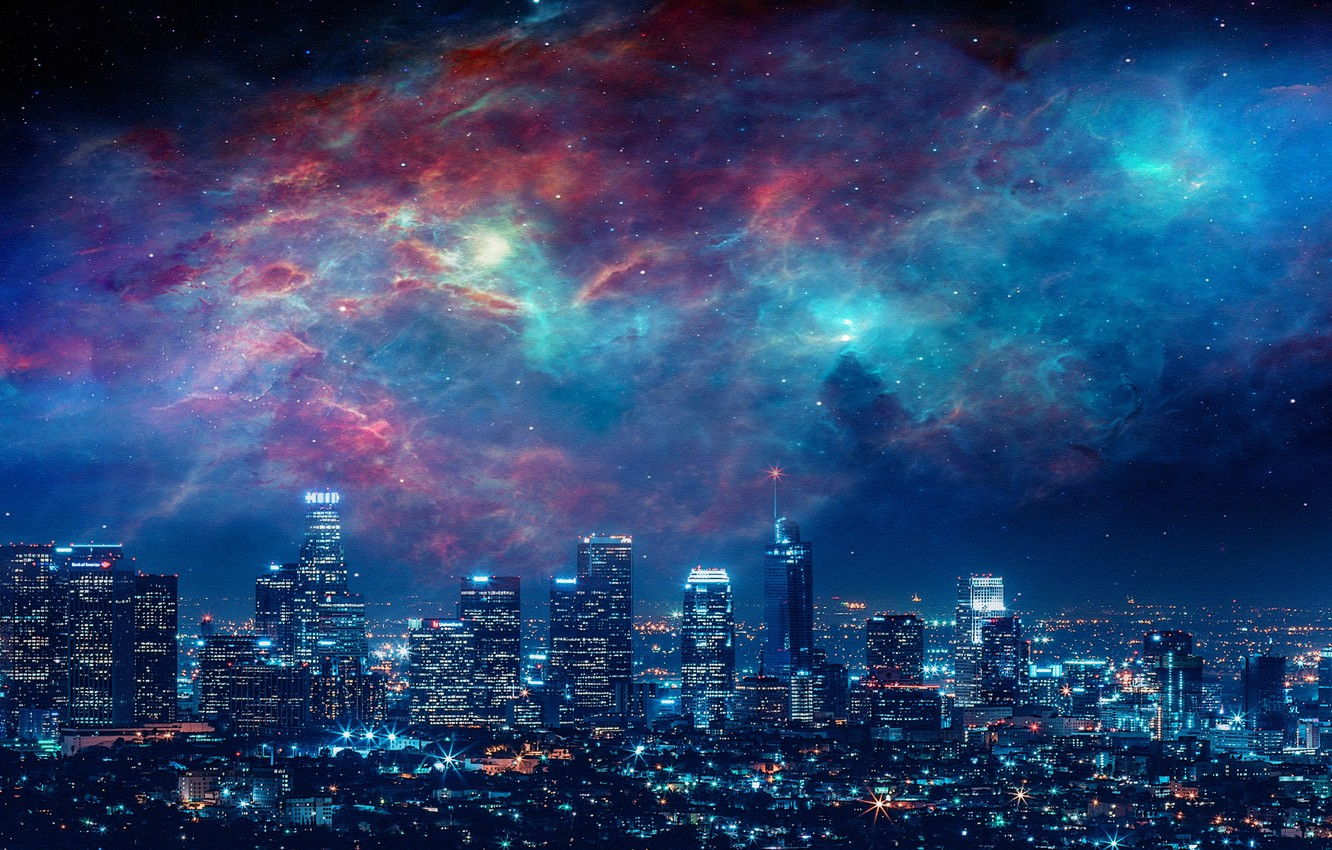 Фото обои City, Sky, Beautiful, Stars, Space, Art, Galaxies, Landscape, Galaxy, Urban, Night, Los Angeles, Deviantart, Paint, …