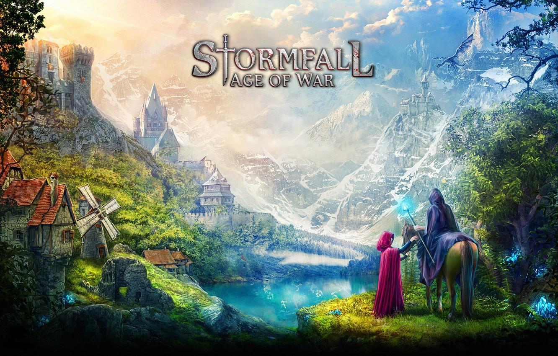 Фото обои game, village, dragon, castle, vegetation, hood, montain, mahou, Stormfall, Stormfall: Age Of War