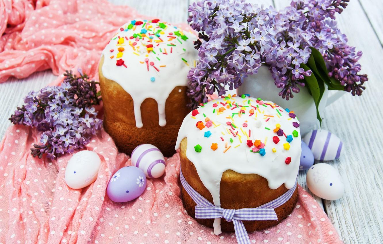 Фото обои цветы, Пасха, cake, кулич, flowers, выпечка, сирень, глазурь, spring, Easter, eggs, decoration, Happy, lilac, яйца …