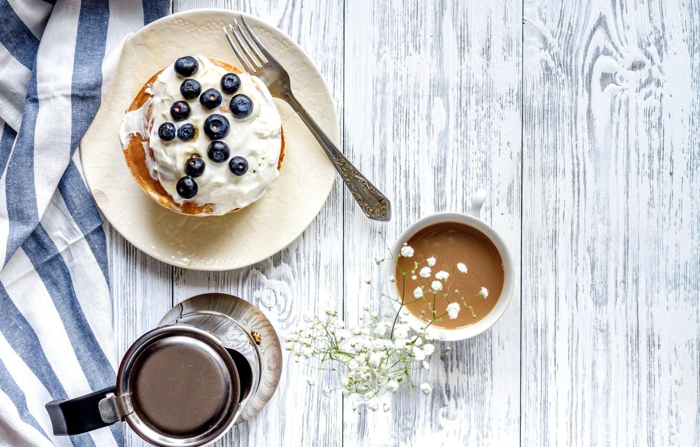 Фото обои ягоды, завтрак, черника, блины, wood, какао, breakfast