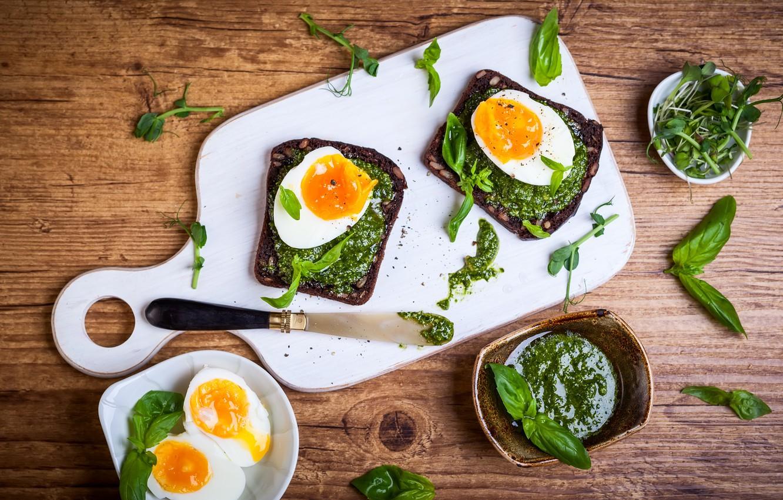 Фото обои зелень, завтрак, яичница, breakfast, базилик