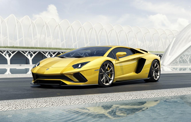 Фото обои Lamborghini, Yellow, Aventador, Supercar, Coupé, 2017, S