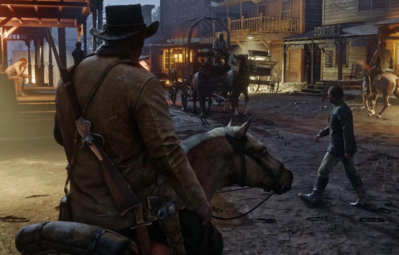 Фото обои город, пистолет, лошадь, шляпа, карета, ковбой, ружьё, револьвер, дикий запад, Red Dead Redemption 2