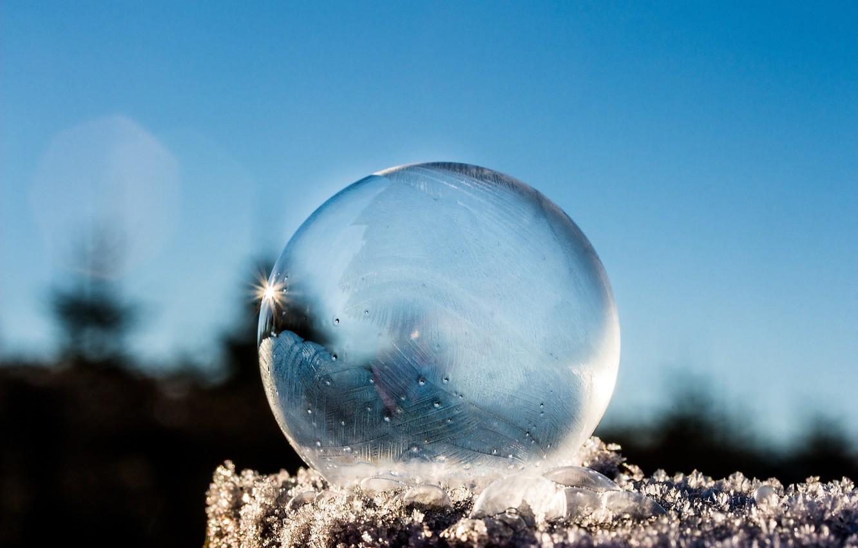Фото обои ice, sky, photography, winter, snow, macro, bokeh, reflection, ball, cold, frost, Sphere, translucent