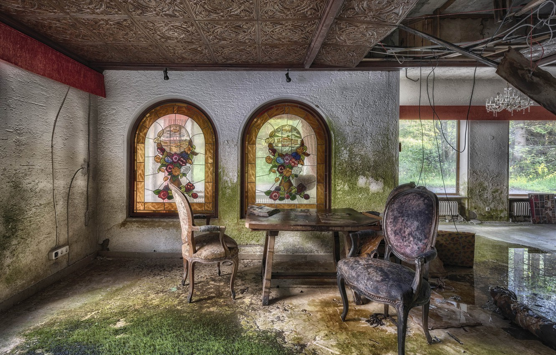 Фото обои стол, комната, стул