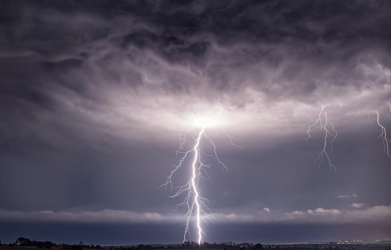 Обои гроза, молния, буря, тучи. Города foto 12