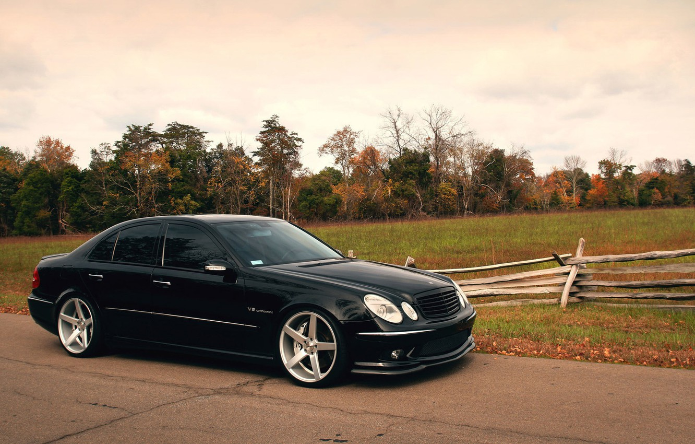 Фото обои Mercedes, AMG, Black, W211, E55