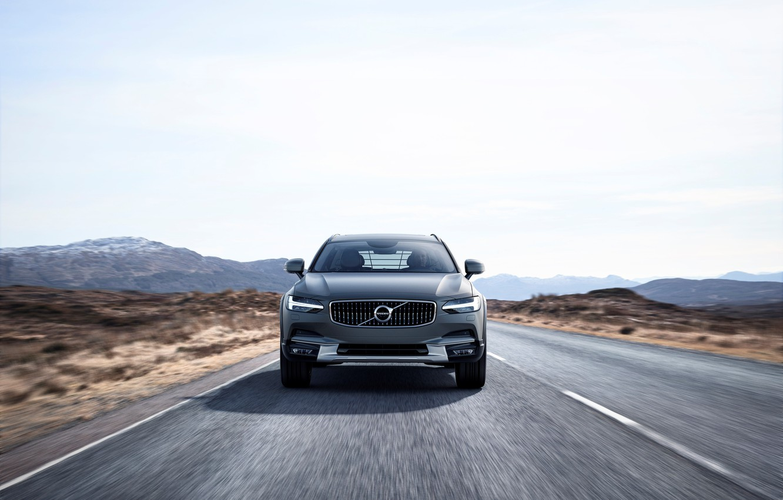 Фото обои Volvo, Car, Road, Silver, Cross Country, Drive, Универсал, 2017, V90
