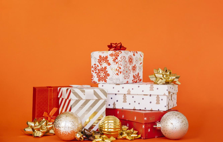 Фото обои праздник, шары, игрушки, новый год, подарки, банты