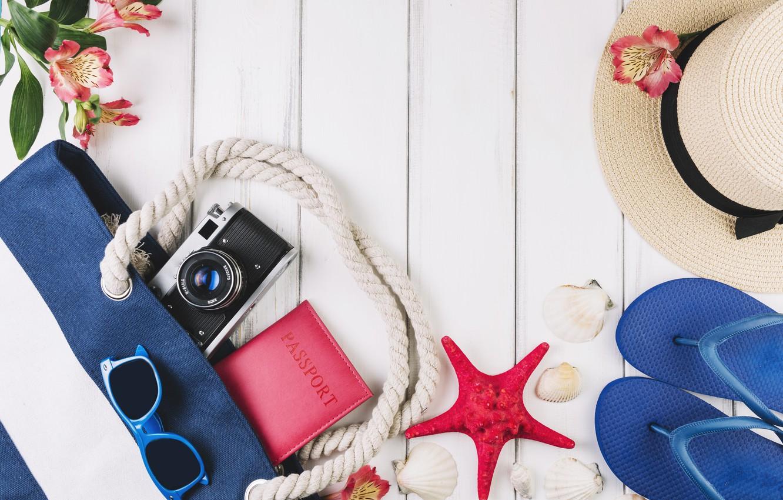 Фото обои море, отдых, фотоаппарат, путешествие, Wood, Flowers, Marine, Camera, Travel, Passport