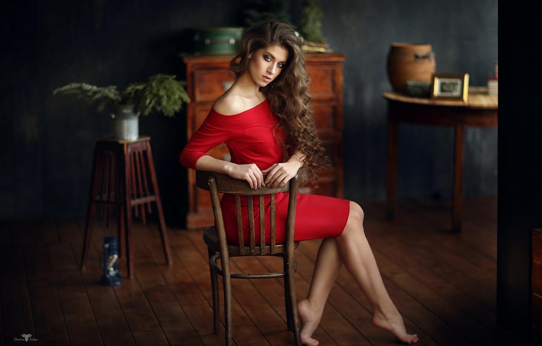 Фото обои девушка, ножки, в красном, Яна, Dmitry Arhar, Дмитрий Архар
