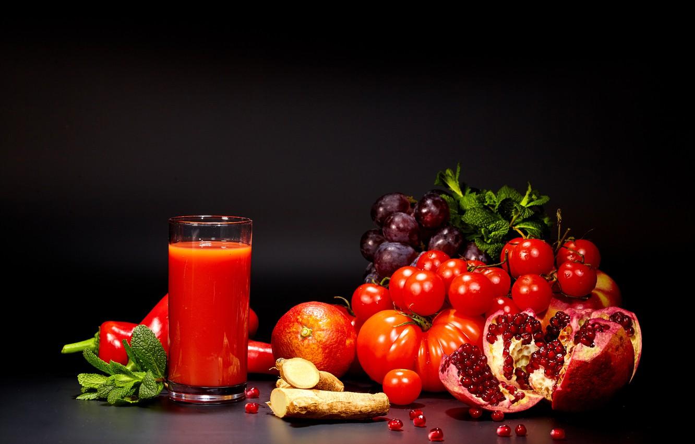 Фото обои стакан, сок, виноград, перец, овощи, помидоры, томаты, гранат
