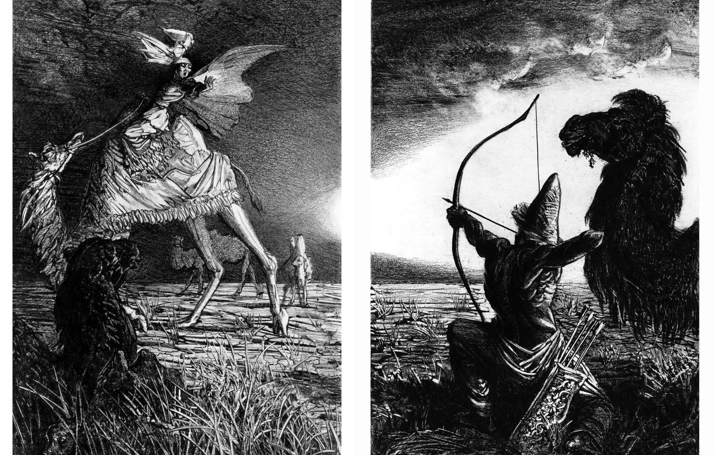 Фото обои верблюд, лучник, Айбек Бегалин, Смерть Ана-Бейит (разворот), Иллюстрации к Айтматову, И дольше века длится день