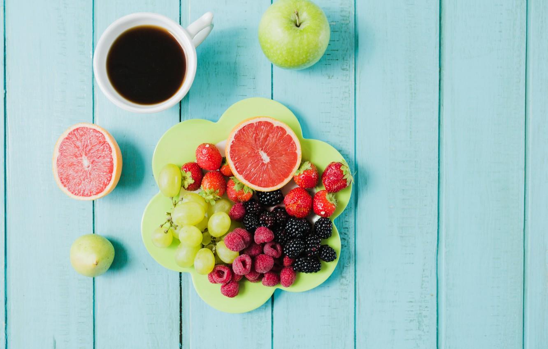 Фото обои ягоды, кофе, завтрак, виноград, фрукты