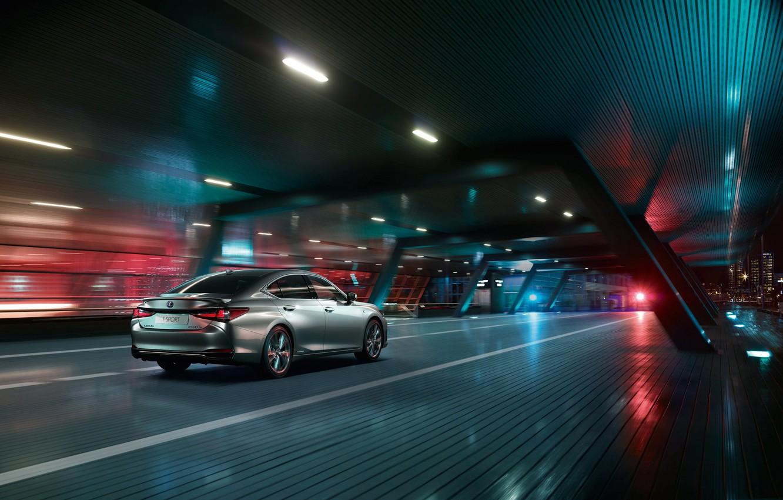 Фото обои авто, город, огни, трасса, Ночь, Lexus ES 300h F SPORT