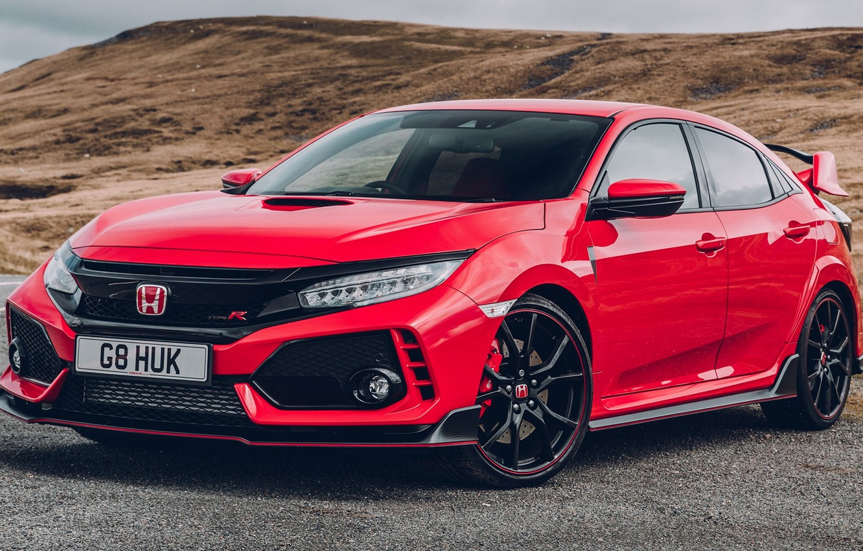 Фото обои Red, Honda, Civic, Type, 2017