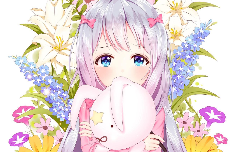 Фото обои цветы, аниме, арт, девочка, EroManga-Sensei