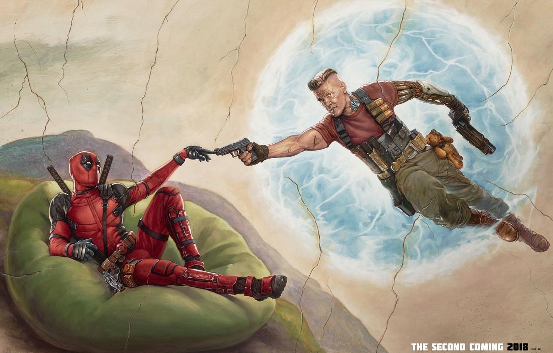Фото обои оружие, фантастика, пистолеты, рисунок, арт, костюм, Райан Рейнольдс, Ryan Reynolds, Deadpool, комикс, катаны, MARVEL, плюшевый ...