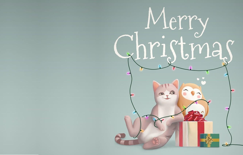 Фото обои праздник, подарок, арт, Новый год, детская, Merry Christmas and Happy New Year, Jordi Villarroya
