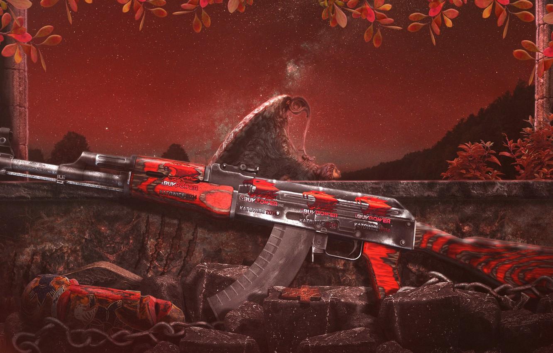 Фото обои game, night, AK-47, counter strike global offensive, wallpaper HD, CS GO.