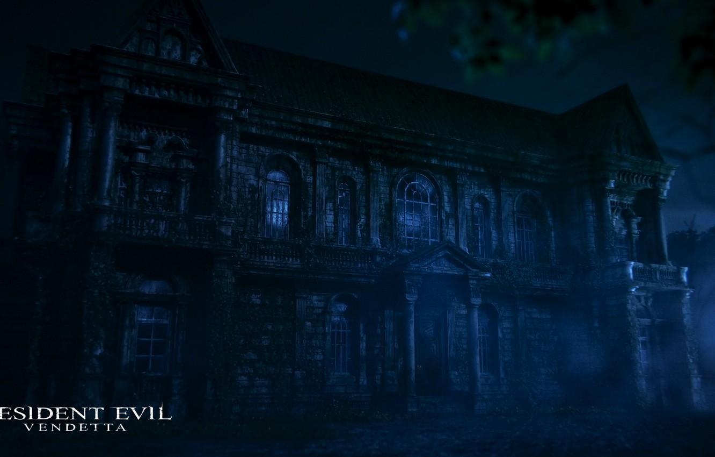 Фото обои dark, wallpaper, forest, resident evil, night, manor, manor house, scary house, 2017, resident evil vendetta, …