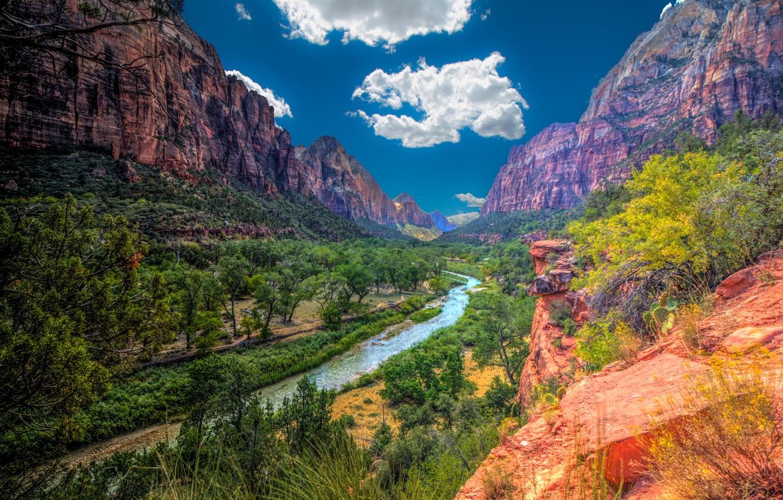 Обои Zion national park, сша, ручей, водопад, юта, скалы. Природа foto 13