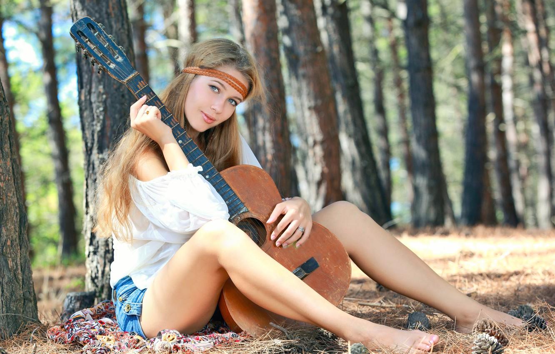 Фото обои Девушка, Гитара, Модель, Красотка, Красивая, Симпатичная, Позирует, Привлекательная, Милашка, Erica B, Xana D, Marianna Merkulova, …
