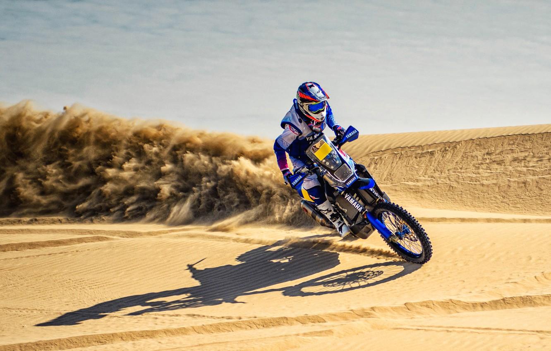 Фото обои Песок, Скорость, Мотоцикл, Гонщик, Мото, Yamaha, Rally, Dakar, Дакар, Ралли, Дюна, Пески