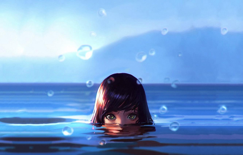 Фото обои Girl, wet, green eyes, sea, water, art, water drops, face, digital art, artwork