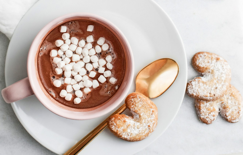 Фото обои печенье, кружка, чашка, hot, chocolate, какао, cookies, marshmallow, зефирки