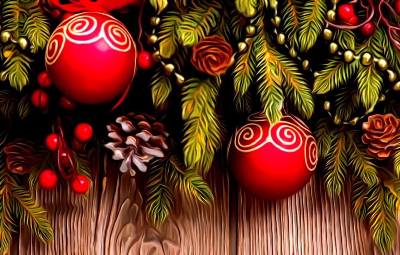 Фото обои рендеринг, праздник, рисунок, Новый Год, бусы, елочные украшения, еловая ветка, красные шарики