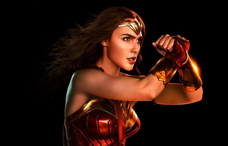 Фото обои фантастика, черный фон, Wonder Woman, постер, комикс, DC Comics, Diana, Галь Гадот, Gal Gadot, Justice …