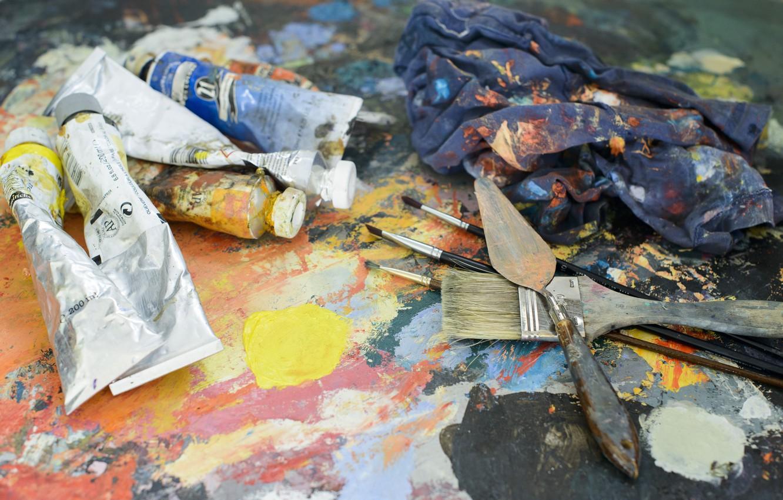Фото обои Кисти, Краски, Живопись, Палитра