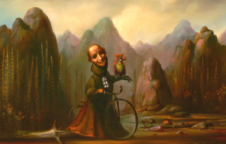 Фото обои горы, велосипед, попугай, Сюрреализм, Лазарев И.А