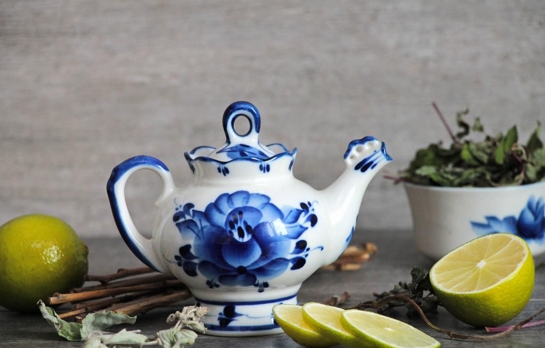 Фото обои фон, Лимон, чайник, заварка, сухая трава, kettle, Гжель, лаим, русские традиции, Gzhel, заварочный чайник