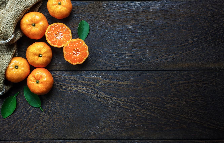 Фото обои Листья, Фон, половинки, мандарины, Цитрусы