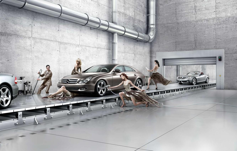 Фото обои Mercedes Benz Assembly Line, Creative Background, автосервис современный