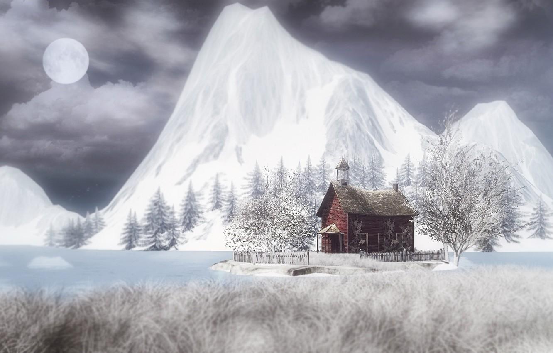 Фото обои зима, горы, ночь, луна, домик