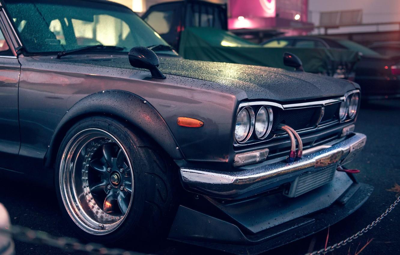 Фото обои Nissan, GT-R, 2000, Front, Skyline, Rain