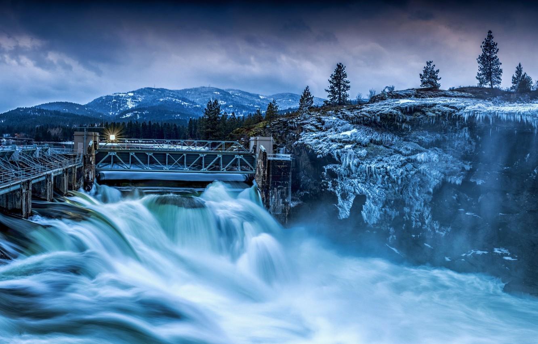 Фото обои зима, деревья, горы, природа, река, дамба