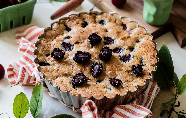 Фото обои пирог, выпечка, ежевика, сладкое