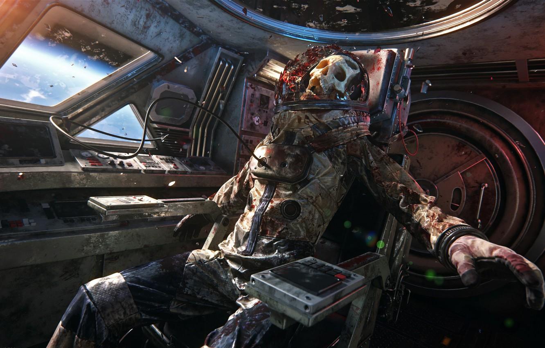 Фото обои space, skull, blood, dead, man, death, cosmonaut, astronaut, uniform, seifuku, voyager, by grandosicua
