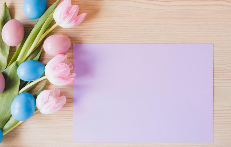 Фото обои цветы, весна, Пасха, тюльпаны, розовые, pink, flowers, tulips, spring, Easter, eggs, decoration, Happy, tender, яйца …