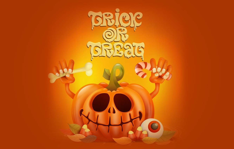 Фото обои праздник, надпись, тыква, хэллоуин