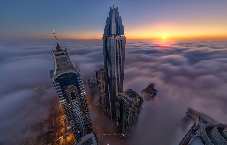 Обои высотки, оаэ, дубай, макушки, Город, туман. Города foto 10