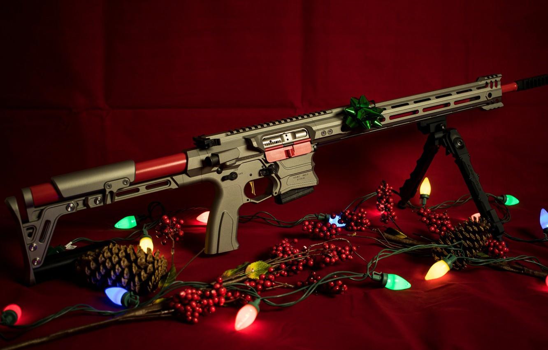 Фото обои оружие, новый год, гирлянда, винтовка, weapon, custom, ar-15, assault rifle, assault Rifle